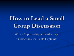 How to Lead a Small Group Discussion
