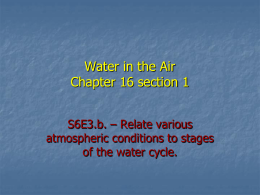 Water in the Air Chapter 16 section 1