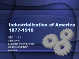 Industrialization of America 1877-1918