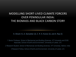 Modelling short-lived climate forcers over Peninsular India: the