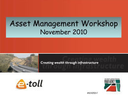 Experience in accounting for roads infrastructure - SANRAL