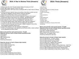 the 2014 Events and Pop Culture Trivia