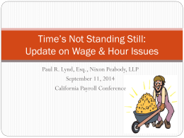 Update on Wage and Hour Issues and Payroll