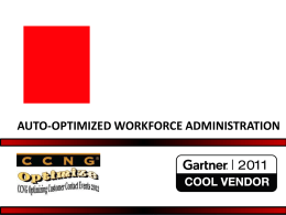 AUTO-OPTIMIZED WORKFORCE ADMINISTRATION