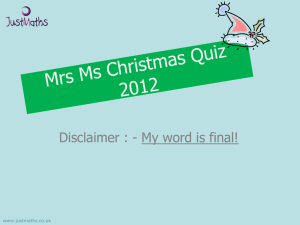 Mrs Ms Xmas Quiz 2012