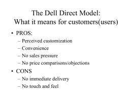 The Dell Direct Model: What it means for customers(users)