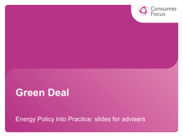 Green Deal - Consumer Focus