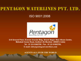Presentation - Pentagon Waterlines Pvt. Ltd.