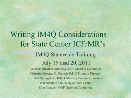 OMR State Centers - Institute on Disabilities