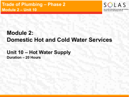 Trade of Plumbing – Phase 2 Module 2 – Unit 10 Indirect Hot Water
