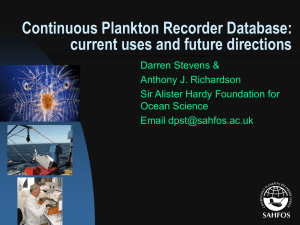 Continuous Plankton Recorder Database: current uses and future