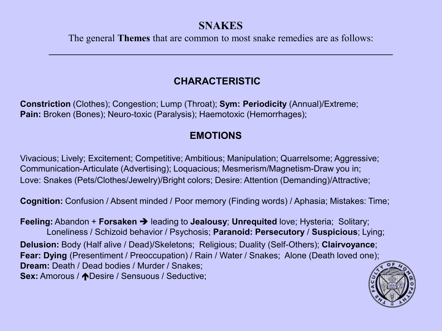 Snakes-remedies - Faculty of Homeopathy