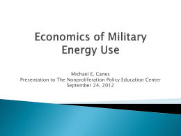 Economics of Military Energy Use - The Nonproliferation Policy