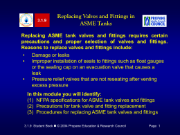 Replacing ASME Tank Valves and Fittings