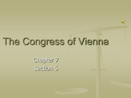 chapter 7 section 5 - the congress of vienna