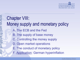 Chapter VIII: Money supply and monetary policy