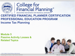Direct Participation Programs - College for Financial Planning
