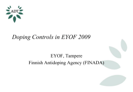 EYOF 2009 Doping Control