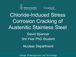 Chloride-Induced Stress Corrosion Cracking of Austenitic Stainless