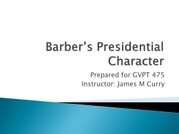Barber`s Presidential Character