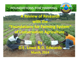 "A Review of Research with the ""Foundations for Farming System"""