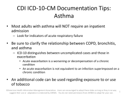 Asthma - Ahima - American Health Information Management