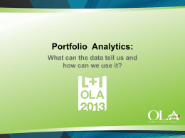 Portfolio Analytics What Can The Data Tell Us