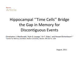 Hippocampal **Time Cells** Bridge the Gap in Memory for