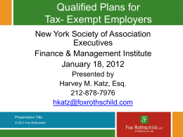Qualified Plans for Tax- Exempt Employers
