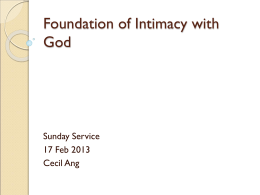 Foundation for Intimacy with God