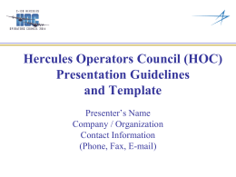 HOC Presentation Guidelines and Template