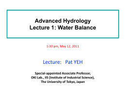 Advanced Hydrology lecture 1: Water Balance