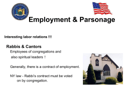 Employment & Parsonage