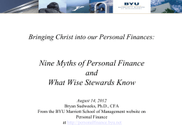 Nine Myths of Personal Finance and Wise Stewards Know