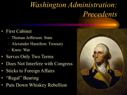 Washington Administration: Precedents