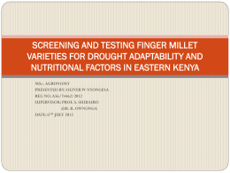 SCREENING AND TESTING FINGER MILLET VARIETIES FOR