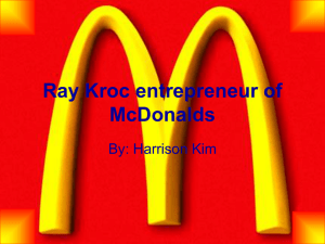 Ray Kroc entrepreneur of McDonalds