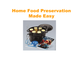 FOOD PRESERVATION PROGRAM