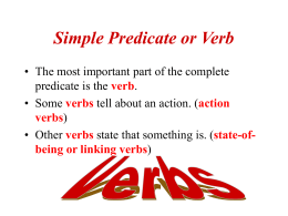 Simple Predicate or Verb