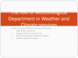 The role of Meteorological Department in Climate