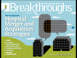 Hospital Merger and Acquisition Strategies