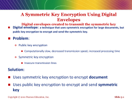 A Symmetric Key Encryption Using Digital Envelopes Digital