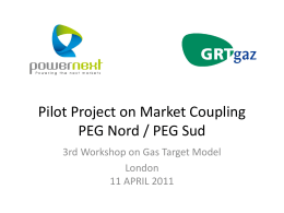 Pilot Project on Market Coupling PEG Nord / PEG Sud