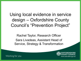 Oxfordshire County Council`s - Social Services Research Group