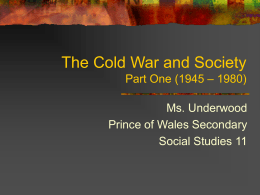 The Cold War - Killarney Secondary School