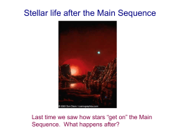 19: 08 October: Stellar life after the Main Sequence