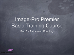 Image-Pro Premier Basic Training Course