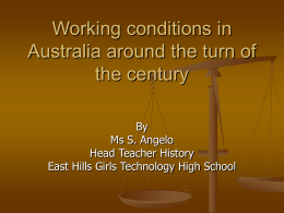 Working conditions in Australia around the turn of the century