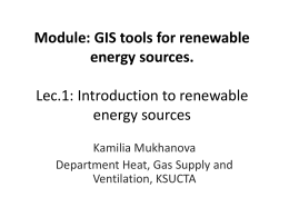 Kamilia - Introduction to renewable energy resources