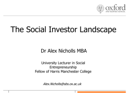 Presentation by Alex Nicholls, SAID Business School
